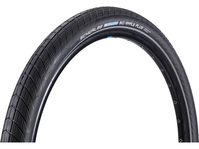 "SCHWALBE Big Apple Plus Sykkeldekk Performance 26"" Twin kanttråd Refleks Svart"
